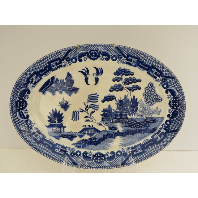Traditional Japanese Blue Willow Platter - Image 2 of 5