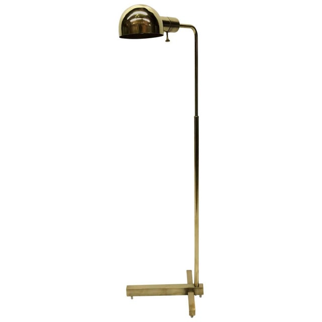 casella pharmacy brass floor lamp chairish. Black Bedroom Furniture Sets. Home Design Ideas
