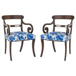 English Regency Carved Armchairs - A Pair