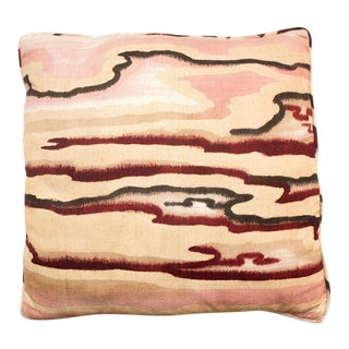 Vintage Pink Raw Silk Watercolor Pillow