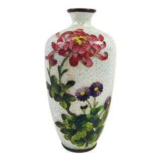 Japanese Ginbari Cloisonne Chrysanthemum Vase
