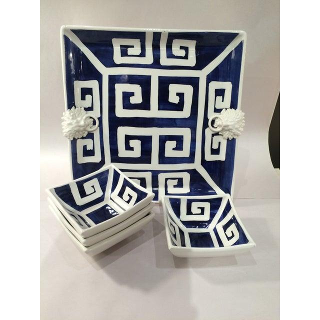 Mane Lion Greek Key Ceramic Platter & Four Bowls - Image 2 of 4