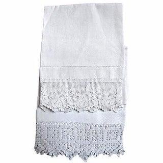 Antique Floral Shamrock Tea Towels - A Pair