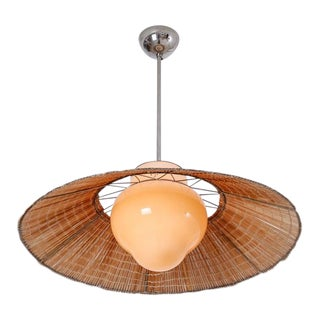 Gunilla Jung Opaline Glass and Rattan Pendant for Orno, Finland, 1940s
