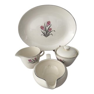 1950's Grant Crest Pink Crocus Serving Set