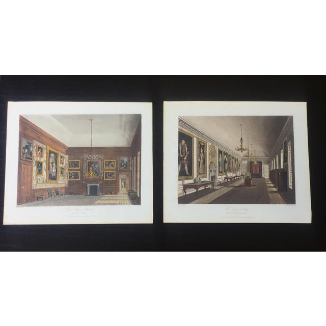 1819 Colored Engravings : English Formal Interiors - a Pair - Image 2 of 11