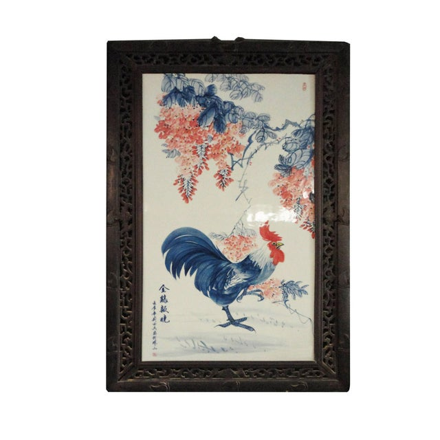 Image of China Porcelain Wood Carving Painting Panel