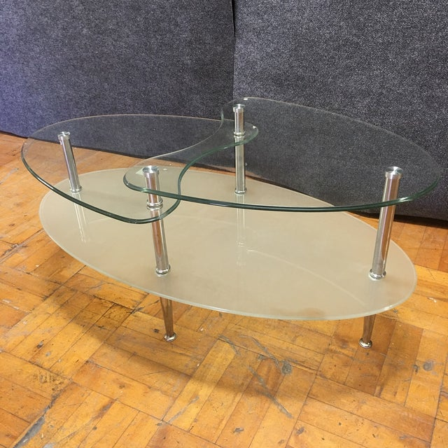 Glass Metal Oval Coffee Table