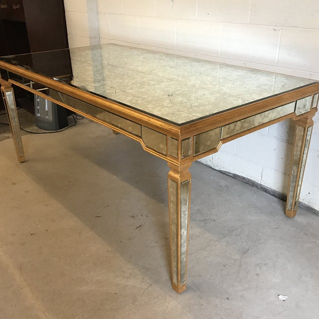 Antiqued Mirrored Dining Table With Gold Leaf Trim - Image 3 of 10