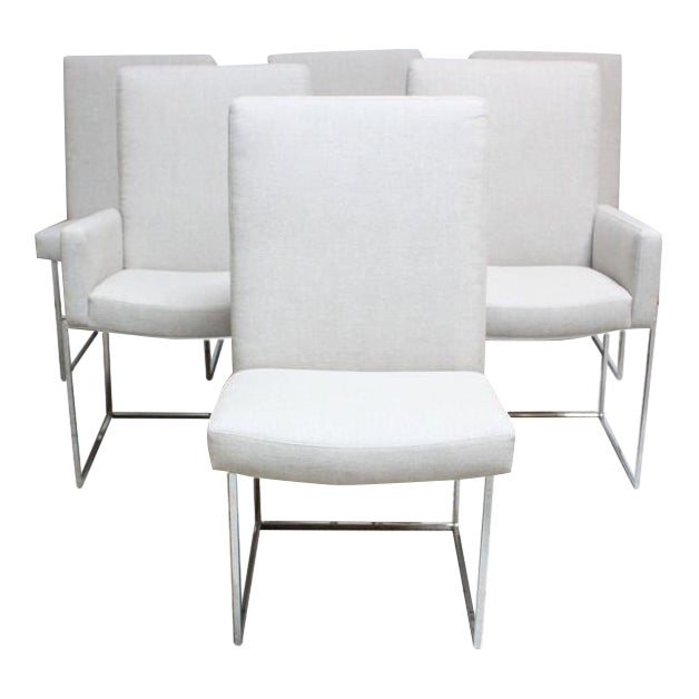 Set of Six Milo Baughman 'Thin Line' Chrome Dining Chairs - Image 1 of 11