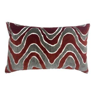 Large Damask Wave Orange Lumbar Velvet Pillow, Made in Italy