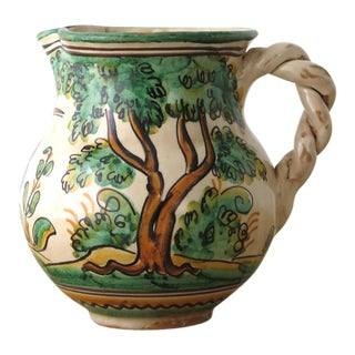 Spanish Hand Painted Landscape Motif Pitcher