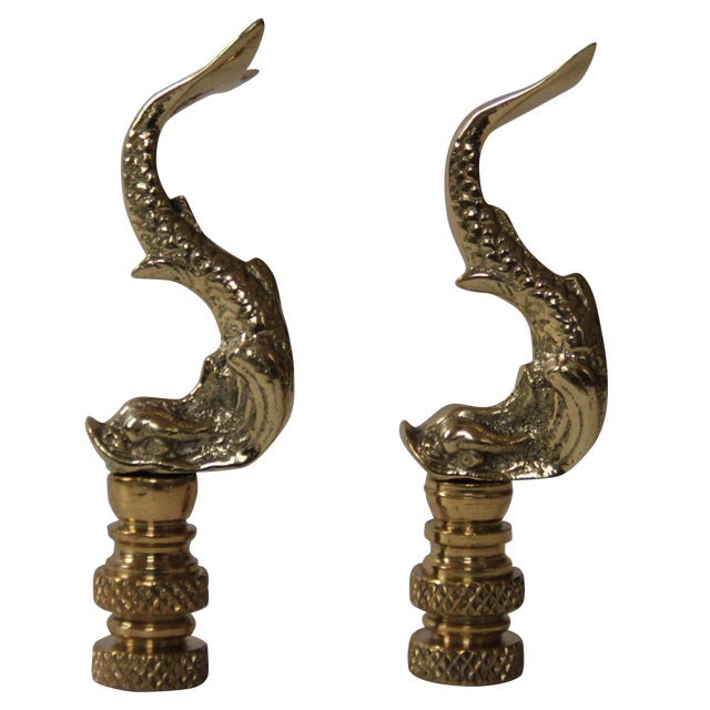 Brass Asian Dolphin Finials - Pair - Image 1 of 3