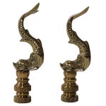 Image of Brass Asian Dolphin Finials - Pair