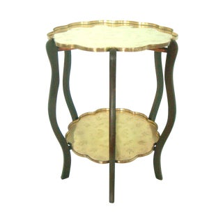 Folding Two Tier Chinese Side Table W/ Brass Trays