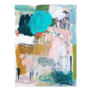 """Lesley Grainger """"Thinking Aqua Blush"""" Original Abstract Painting"""
