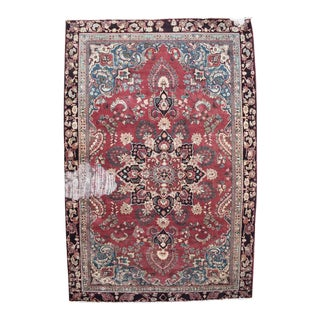 Vintage Hand Knotted Wool Persian Mahal Rug - 5′ × 8′1″