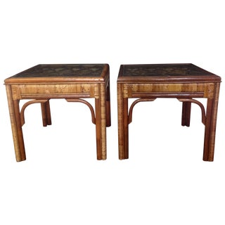 Bamboo And Rattan Wrapped Side Table - Pair