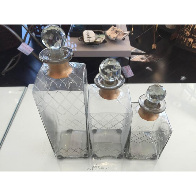 Etched Glass Decorative Decanters - Set of 2 - Image 2 of 5