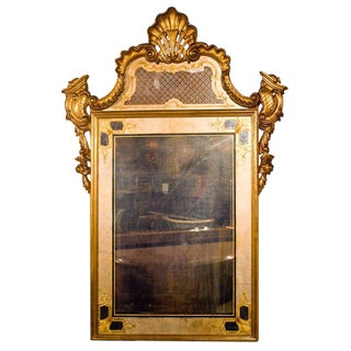 Jansen Stamped Églomisé Mirror with Giltwood Frame