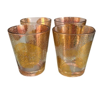Gold Chrysanthemum Glasses - Set of 4