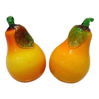Vintage Murano Glass Pears - A Pair