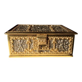 Antique Gilt Brass Cherub Jewelry Casket Box