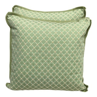 Green Diamond Patterned Pillows - A Pair