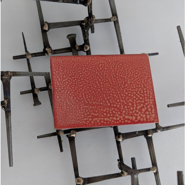 Abstract Brutalist Metal Wall Sculpture - Image 2 of 6