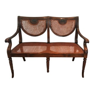 Antique Mahogany & Rattan Settee