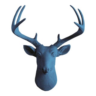 Wall Charmers Navy Blue Faux Deer Head Mount