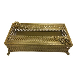 Hollywood Regency Goldtone Tissue Box
