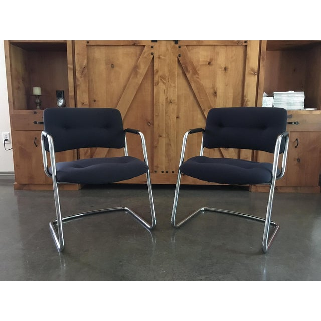 Mid-Century Cantilever Chrome Armchairs - A Pair - Image 2 of 9
