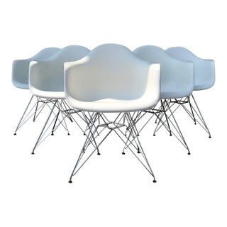 White Vitra Eames Armchairs - Set of 6