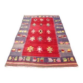 "Vintage Turkish Kilim Rug - 5'2"" X 8'9"""