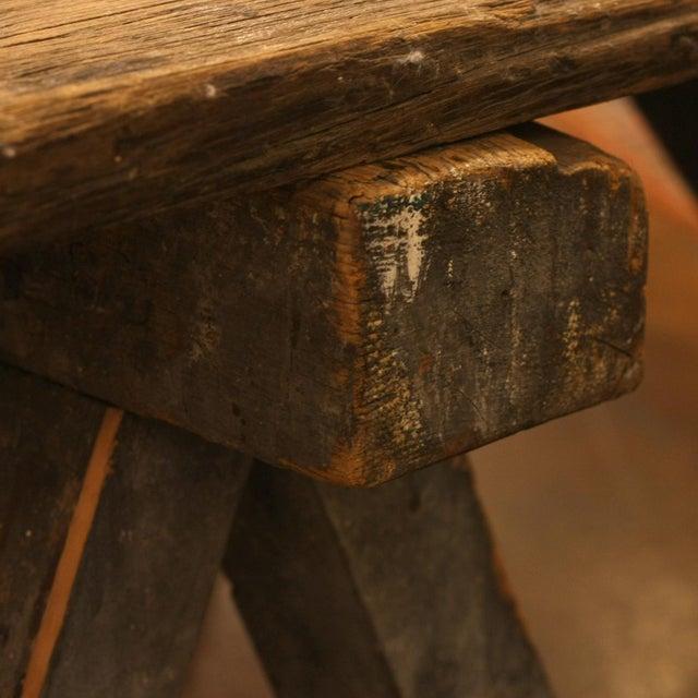French Rustic Coffee Table On Sawhorse Legs Chairish