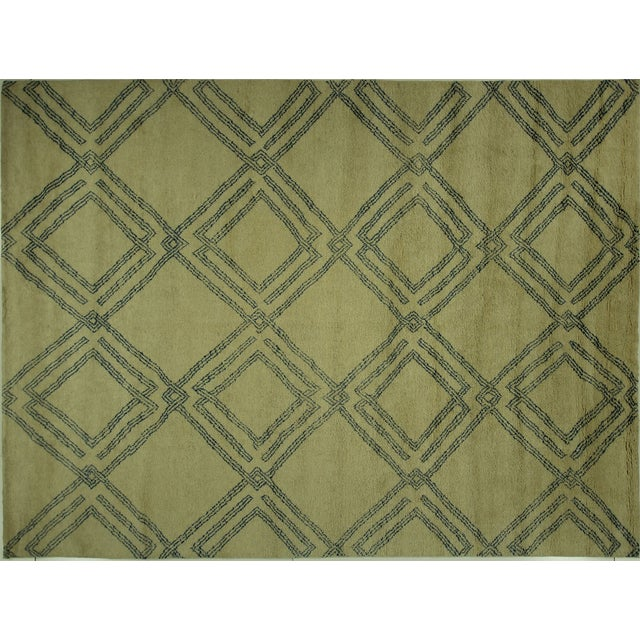 Diamond Moroccan Hand Knotted Rug - 10' x 13' - Image 1 of 10