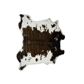 "Faux Brown & White Hide Rug - 4'4"" x 5'"