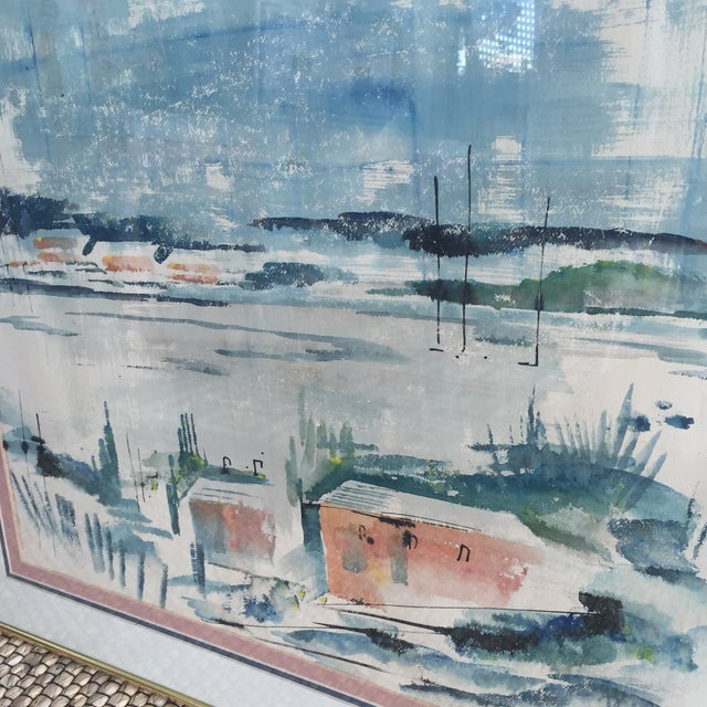 Mid Century Modern Alfred Birdsey Abstract Modernist Ocean Seascape Watercolor Painting Signed - Image 8 of 11