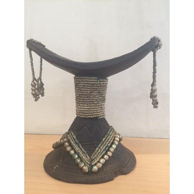Vintage African Wood & Bead Headrest - Image 2 of 7
