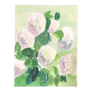 Vintage French Floral Hydrangea Watercolor, Signed