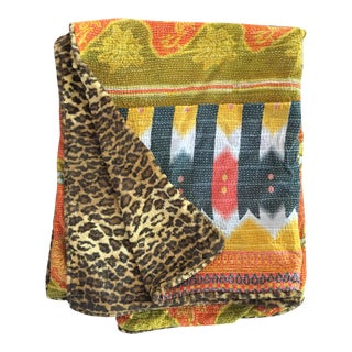 Kantha Faux Cheetah Lined Throw