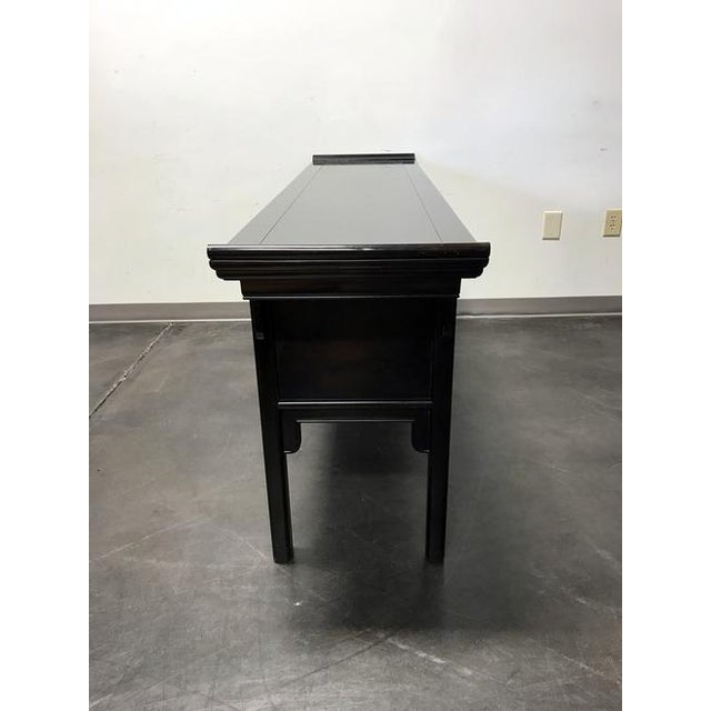 Century Black Console with Brass Hardware - Image 5 of 10