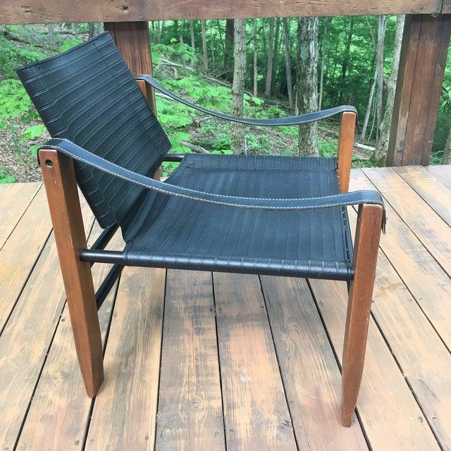 Sirocco Safari Black Vinyl & Leather Arms Chair - Image 5 of 10