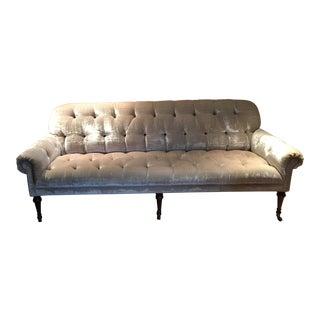 Hollywood Regency Silk Velvet Tufted Sofa