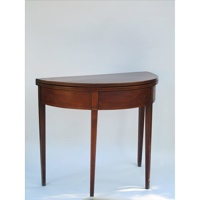 Sheraton-Style Demilune Rosewood Game Table - Image 5 of 11