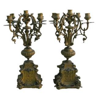 Patinated Bronze Candelabra - A Pair