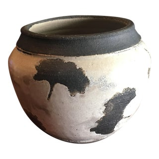 Mid-Century Raku Studio Pottery Ginkgo Leaf Motif Bowl