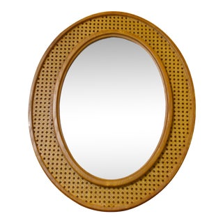 Vintage Oval Cane & Wood Mirror