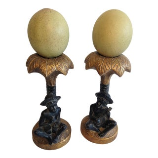 Faux Ostrich Egg Palm Tree Holders - A Pair